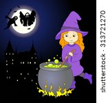 lovely friendly witch with red... | Shutterstock .eps vector #313721270