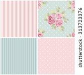 set of cute seamless shabby... | Shutterstock .eps vector #313723376