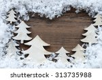 Small photo of Wooden Background With White Christmas Trees And Snow. Vintage Style. Copy Space Free Text Or Your Text Here For Christmas Or Season Greetings