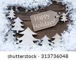brown christmas label with... | Shutterstock . vector #313736048