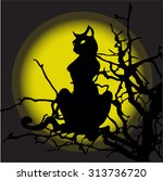 silhouette of a black cat... | Shutterstock .eps vector #313736720