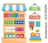 supermarket shelves and general ... | Shutterstock .eps vector #313739294