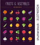 vegetables and fruits hand... | Shutterstock .eps vector #313740524