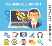 technical support flat... | Shutterstock .eps vector #313741568