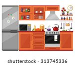 kitchen interior with furniture ... | Shutterstock .eps vector #313745336
