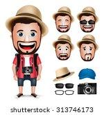 3d realistic tourist man... | Shutterstock .eps vector #313746173