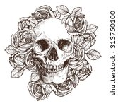 Skull And Roses. Hand Drawn...