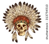 hand drawn native american... | Shutterstock .eps vector #313754510