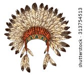 hand drawn native american... | Shutterstock .eps vector #313754513