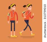 lovely vector flat design on... | Shutterstock .eps vector #313759010