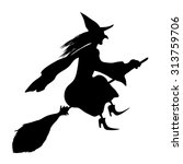 witch on a broomstick. black... | Shutterstock .eps vector #313759706
