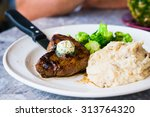 steak with mashed potatoes and... | Shutterstock . vector #313764320