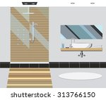 bathroom interior with mirror... | Shutterstock .eps vector #313766150