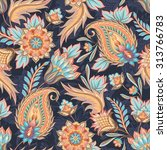 traditional oriental paisley... | Shutterstock .eps vector #313766783