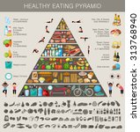 food pyramid healthy eating... | Shutterstock .eps vector #313768940
