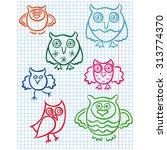 set of seven cute color owls... | Shutterstock . vector #313774370