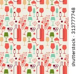 seamless background with wine... | Shutterstock .eps vector #313777748
