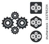 gears icon set  monochrome ...