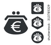euro purse icon set  monochrome ...
