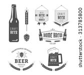 vintage label set craft beer.... | Shutterstock .eps vector #313785800