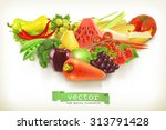 healthy food  fruits and... | Shutterstock .eps vector #313791428