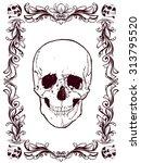 vintage vector poster   skull...   Shutterstock .eps vector #313795520