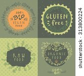 retro style vector set of 100 ... | Shutterstock .eps vector #313800224