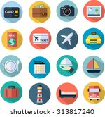 travel icons set flat design | Shutterstock .eps vector #313817240