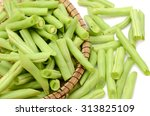 Chopped Green Beans On White...