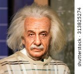 Small photo of BANGKOK - JUL 22: A waxwork of Albert Einstein on display at Madame Tussauds on July 22, 2015 in Bangkok, Thailand. Madame Tussauds' newest branch hosts waxworks of numerous stars and celebrities