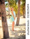 european slim blonde girl... | Shutterstock . vector #313825694