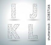 mesh stylish alphabet letters i ... | Shutterstock .eps vector #313837166
