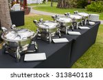 buffet heated trays ready for... | Shutterstock . vector #313840118