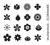 silhouette flower icons set | Shutterstock .eps vector #313846688