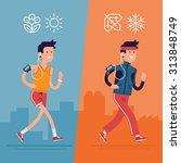 all seasons fitness run vector... | Shutterstock .eps vector #313848749