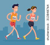 cool vector marathon road race... | Shutterstock .eps vector #313848764