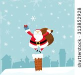 santa on chimney | Shutterstock .eps vector #313852928