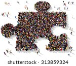 large group of people seen from ... | Shutterstock . vector #313859324