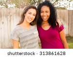 two happy friends together... | Shutterstock . vector #313861628