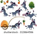 farm animals set  donkey   Shutterstock .eps vector #313864586