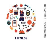 fitness and sport tools and... | Shutterstock .eps vector #313869848