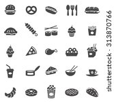 fast food black icons set.vector | Shutterstock .eps vector #313870766