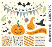 sat of halloween seamless... | Shutterstock .eps vector #313876340