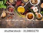 bowls and spoon of  various... | Shutterstock . vector #313883270