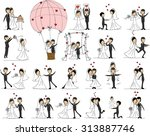 set of wedding pictures  bride... | Shutterstock .eps vector #313887746