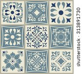 collection of 9 ceramic tiles... | Shutterstock .eps vector #313891730