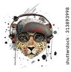 illustration leopard t shirt... | Shutterstock . vector #313893998