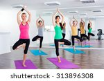 four girls practicing yoga ... | Shutterstock . vector #313896308
