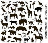 vector set of black animals and ... | Shutterstock .eps vector #313909634