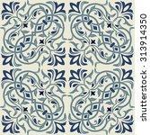seamless vintage tiles in blue...   Shutterstock .eps vector #313914350